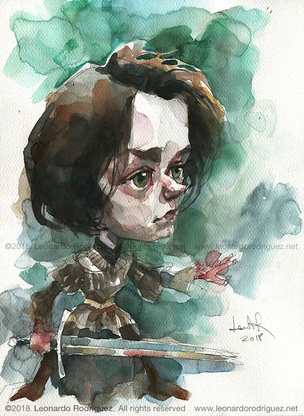 Illustration artist-caricaturista-got-arya-starkr-Leonardo Rodr°guez
