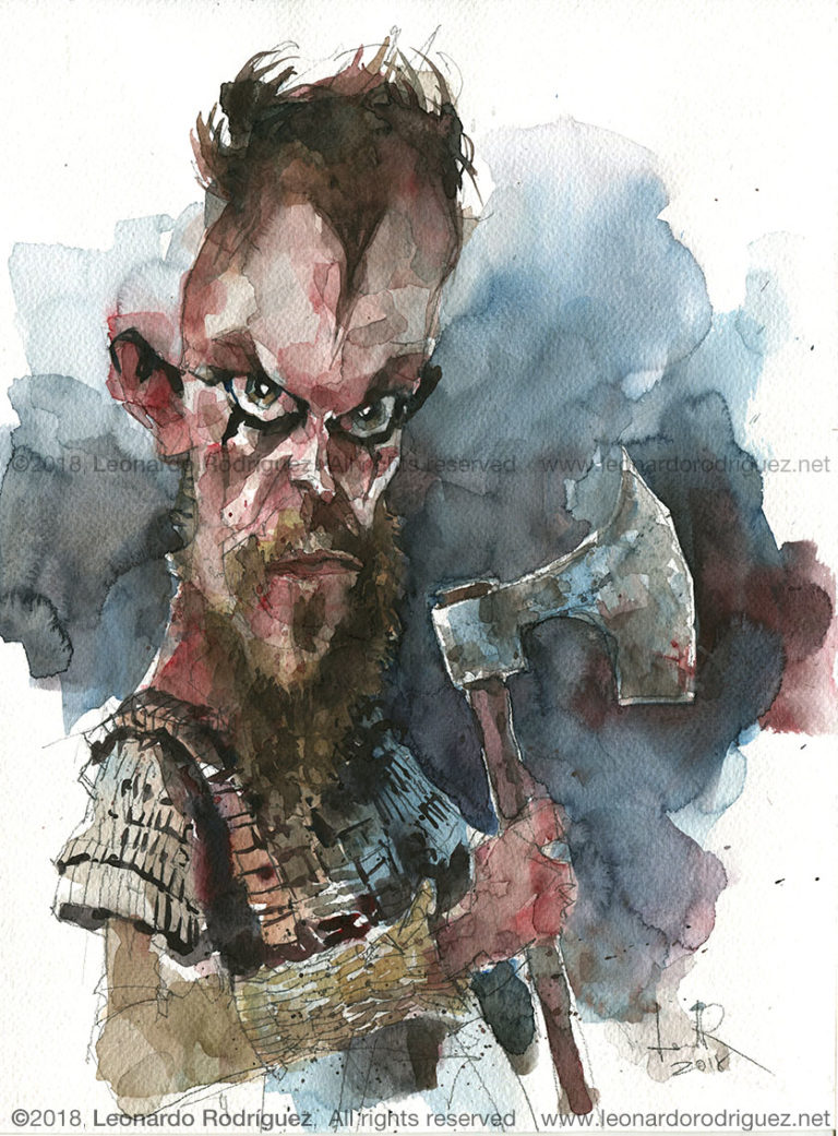 Illustration artist-caricaturista-vikings-Floki-Leonardo Rodr°guez